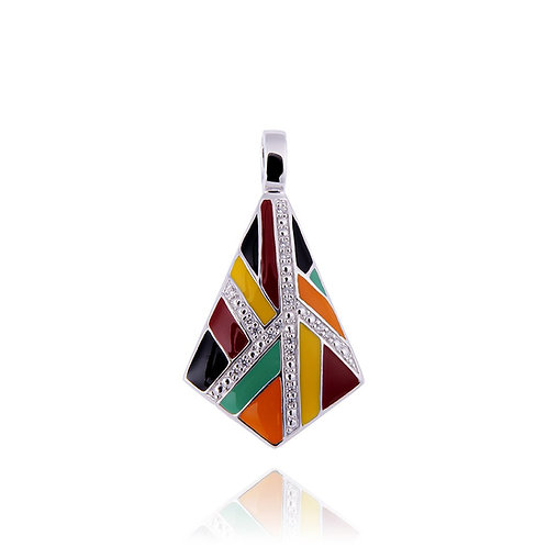 Pendentif argent multicolore Art Déco Ref. BQ121203