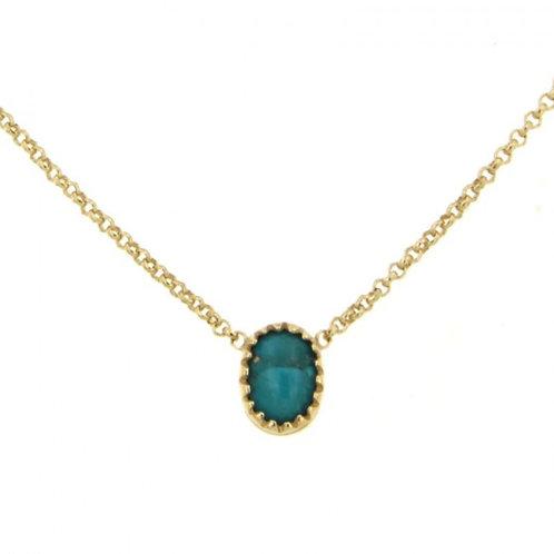 Réf. P175100F TU Collier Plaqué Or KHEOPS 8/6 turquoise 40cm