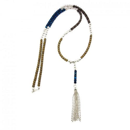 Réf. A139010L BM Sautoir Argent MASSAÏ Hématite Bleu Marine/Gold -L: 70+9cm - l: