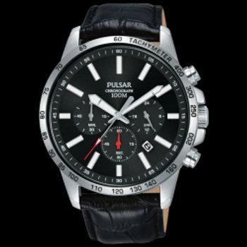 Pulsar Montre homme Sport chrono cuir noir