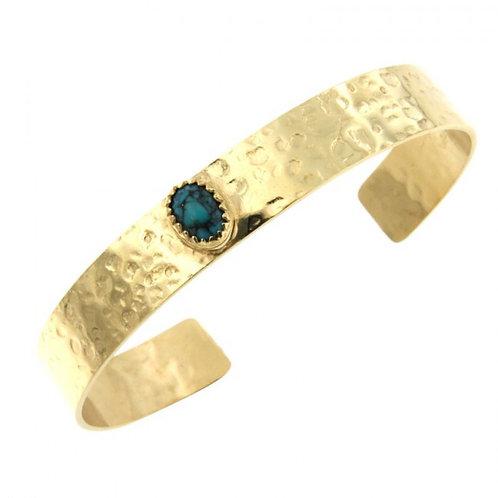 Réf. P175230S TU Bracelet Plaqué Or 8/6 KHEOPS JONC10 Martelé 8/6 Turquoise