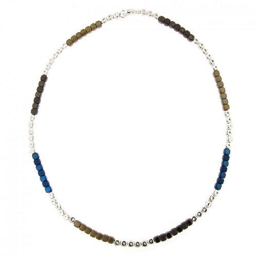Réf. A139000G BM Collier Argent MASSAÏ Hématite Marine/Gold - L: 45cm - l:4mm