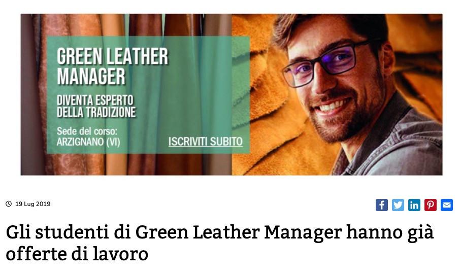 Gli studenti di Green Leather Manager hanno già offerte di lavoro