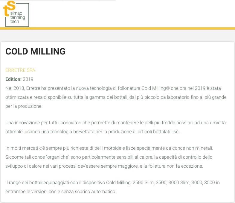 Articolo di Simac Tanning Tech | Cold Milling Erretre