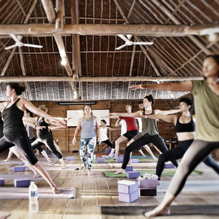 Afternoon yoga session in the yoga studio