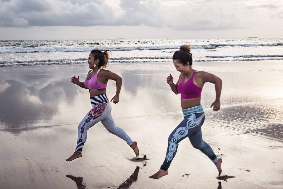 Sprint, run, walk. Getting our cardio fitness in.