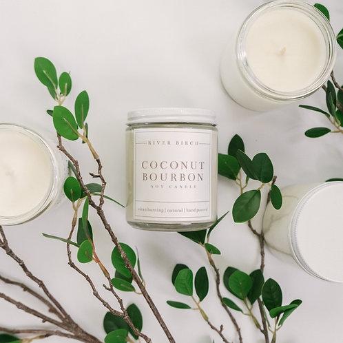 Coconut Bourbon 8.5oz Soy Candle - Clear Jar