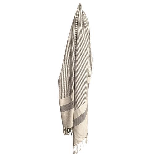 Grey & White Stripe Turkish Throw