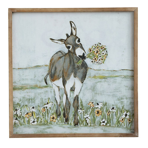 """20"""" Square Wood Framed Donkey In Field"""