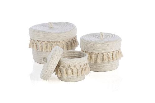 Set of 3 Round Lidded Nesting Baskets