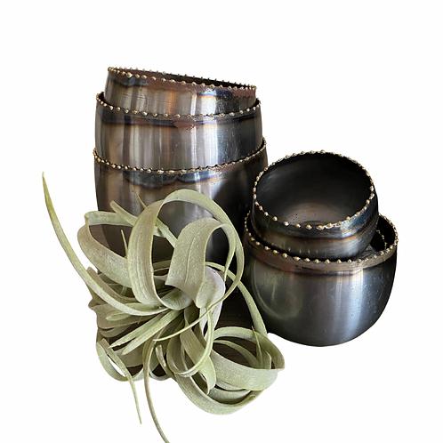 Set of 6 Zinc Pots