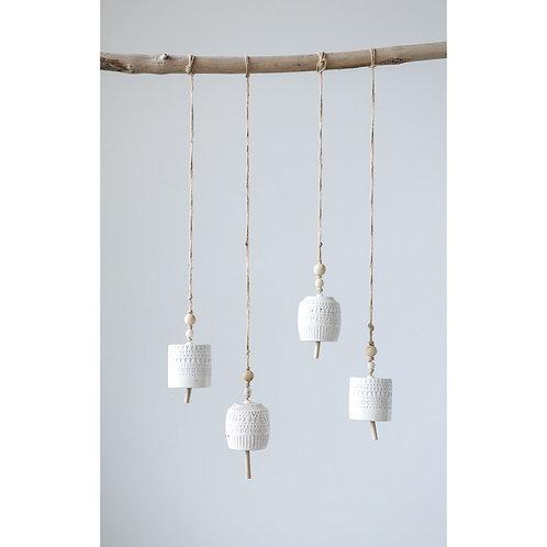 Set of 2 Stoneware Bells w/Beads