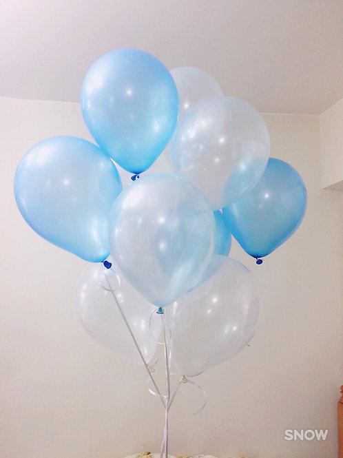 珠光氫氣球(淺藍+白色)