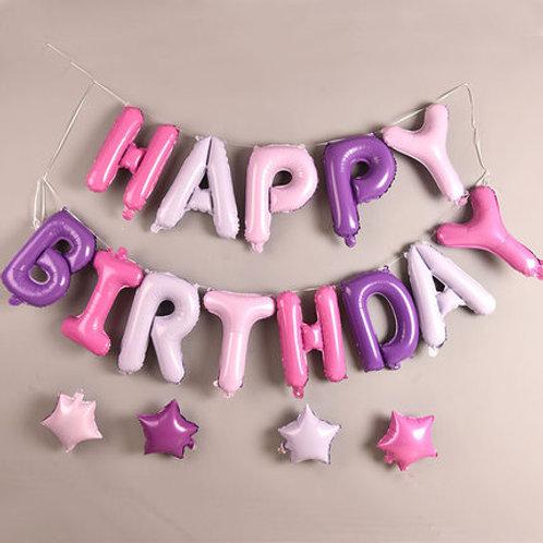 美版Happy birthday粉紫系列鋁箔氣球