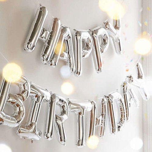 美版Happy birthday可懸掛銀色字樣鋁箔氣球