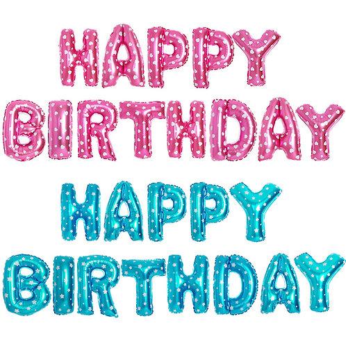 Happy birthday粉藍色/粉紅色鋁箔氣球