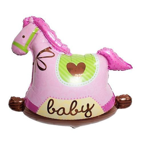 粉紅木馬百日宴系列氣球
