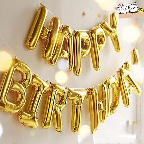 美版Happy birthday可懸掛金色字樣鋁箔氣球
