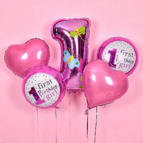 Baby Girl1歲生日氦氣球套裝