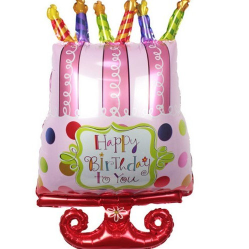 粉紅色蛋糕生日氣球