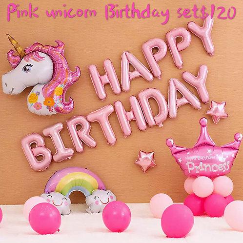 Pink unicorn happy birthday set