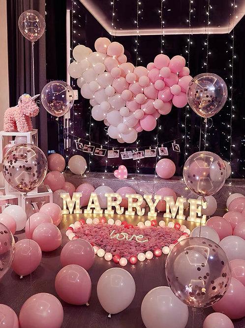 粉色大型心心求婚佈置