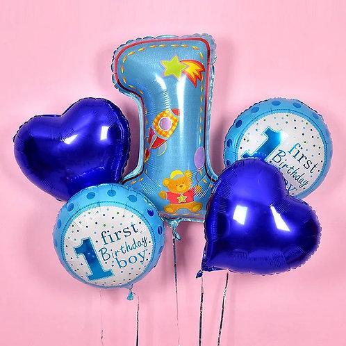 Baby Boy1歲生日氦氣球套裝