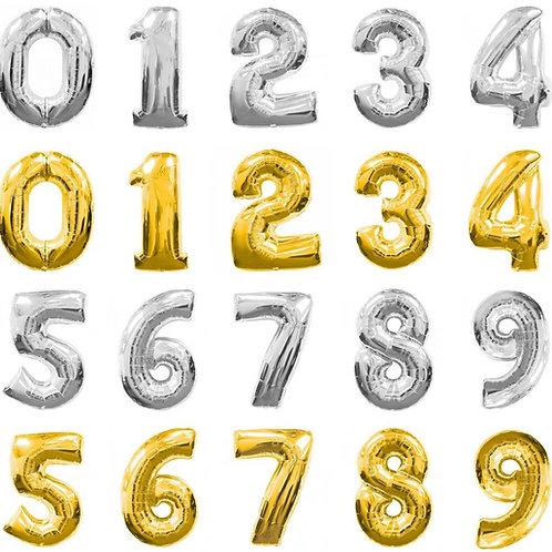 14吋金銀色數位字母氣球Number Balloons