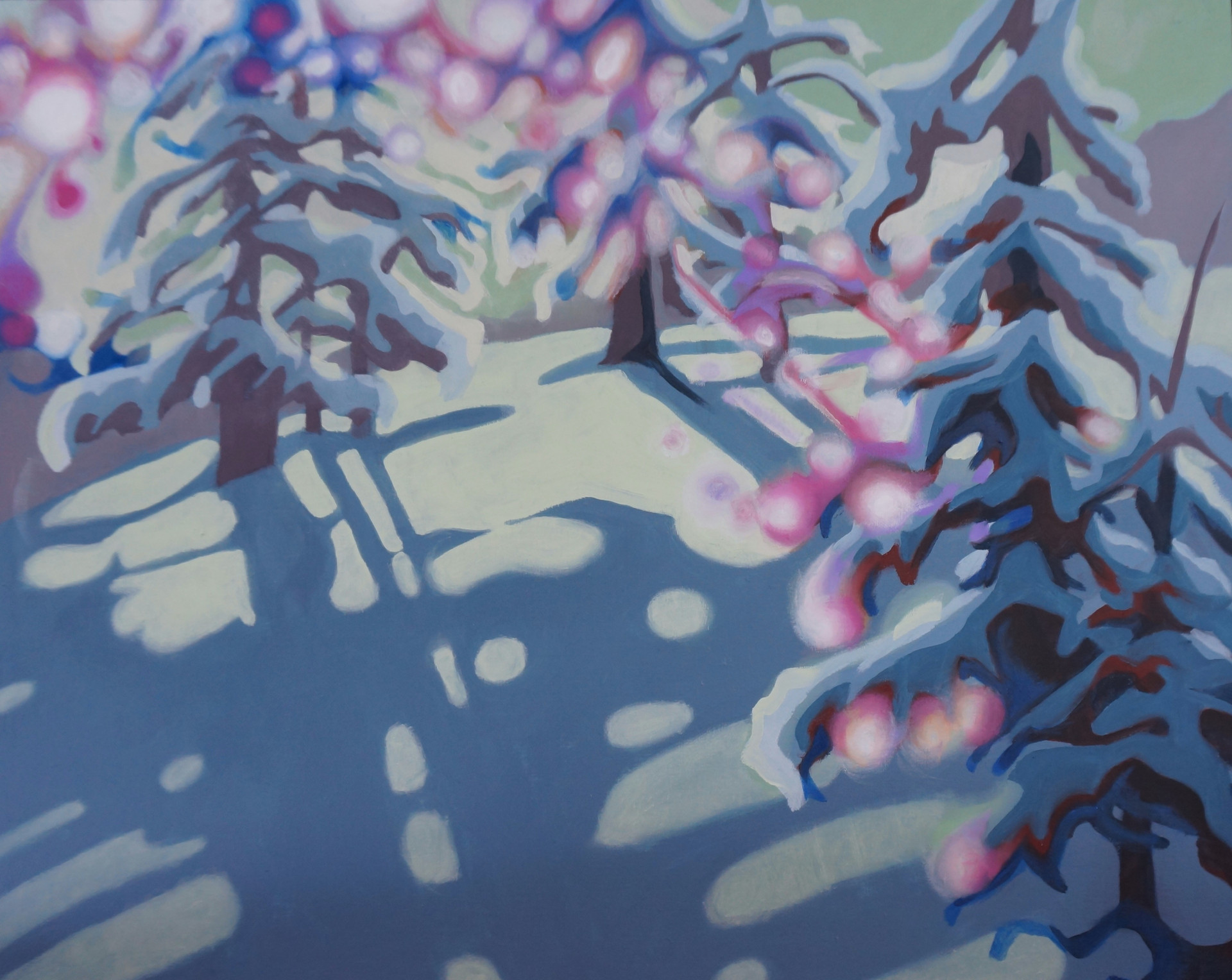 "Snow Light Oil on Board 16"" x 20"""