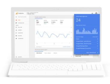 Laptop with data Google Analytics