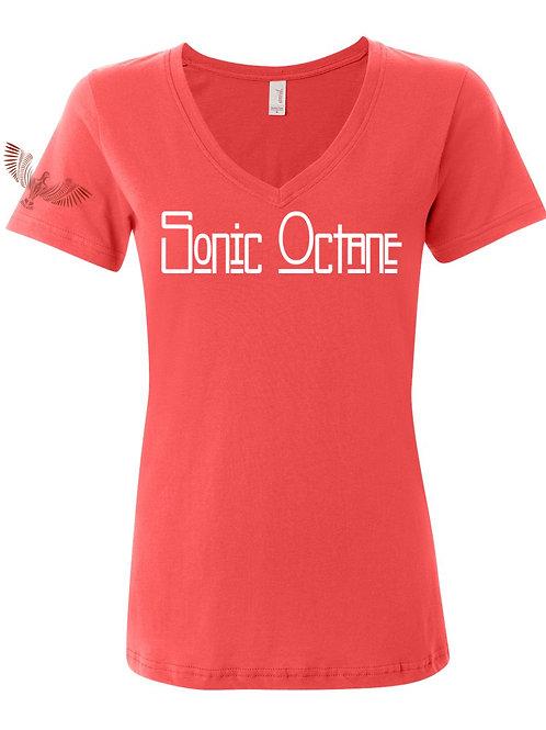 Sonic Octane - Womens V Neck T Shirt (Coral)