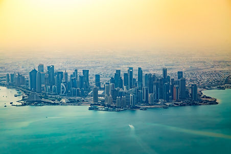 Aerial view of city Doha, capital of Qat