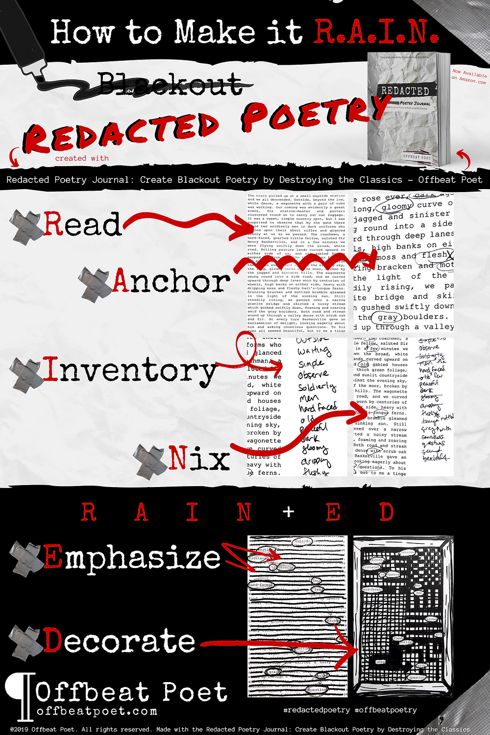 Redacted Poetry Journal: Create Blackout Poetry by Destroying the Classics - Offbeat Poet