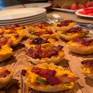 mini phyllo tarts with pimento cheese and bacon