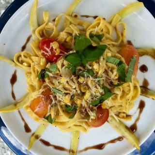 Black pepper Parmesan pasta with Bluffto