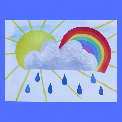 Sunshine, Rainbow, Large Rain Cloud A5 Heavy