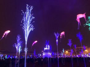 The famous light festival in Lyon, France