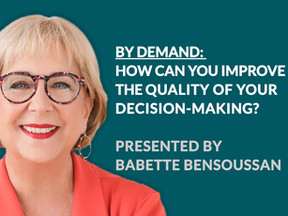 EVENT 25th AUGUST - BACK BY POPULAR DEMAND: HOW CAN YOU IMPROVE THE QUALITY OF YOUR DECISION-MAKING?