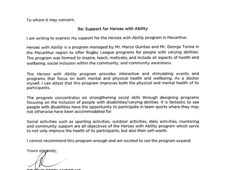 DR MIKE FREELANDER MP ENDORSES HEROES WITH ABILITY