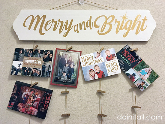 Christmas Cards Hanger Tutorial & Free Stencil