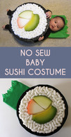 How to Make a Sushi Roll (California Roll) Infant Costume Without Sewing!