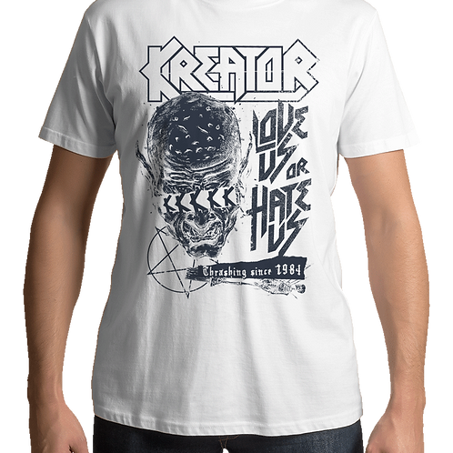 Kreator - Love Us Or Hate Us (White T-Shirt)