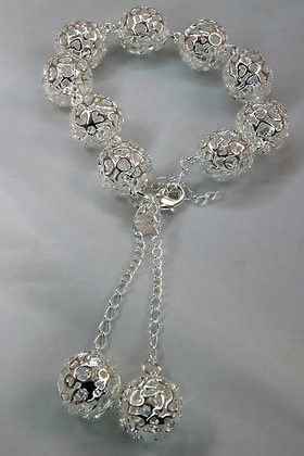 """""""Ivanka"""".925 SS Filigree Heart Bracelet"""