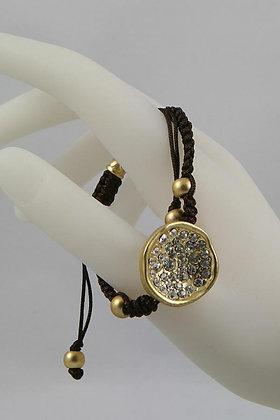 """""""Orlena"""" Gold Tone Disk Crystal Bracelet"""