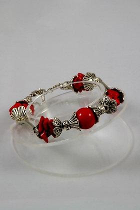 """Nessa"" Red Coral Beads Tibetan Silver Bracelet"
