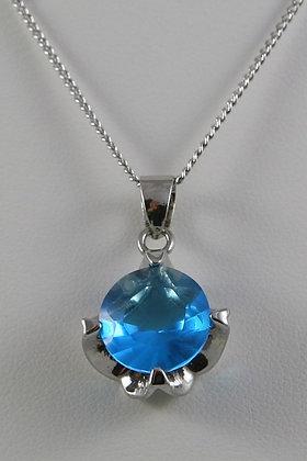 """Alana"" Rhodium Plated Blue Sapphire Crystal Pend"