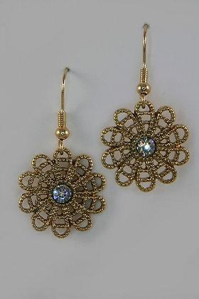 """""""Karenia"""" Antique Gold Metal Crystal Flower Earrings"""