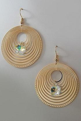 """Lavia"" Swirl Round 18 YKG Clear Swarovski Crystal Earrings"