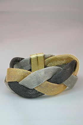 """Gwen""Large Flat Mesh Three-Color Twist Bracelet"