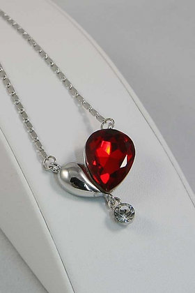 """""""Alessandrina"""" Silver Tone Red Heart Crystal  Pend"""